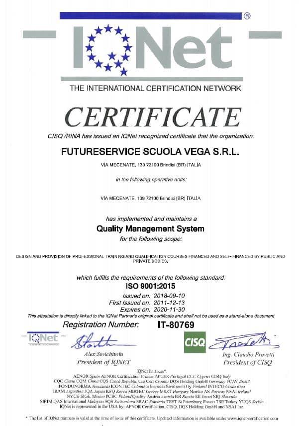 Vega Training Certificazione ISO 9001:2015 EA37