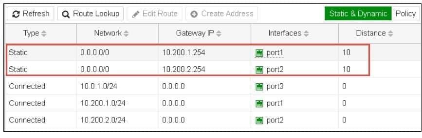 Bilanciamento del traffico Fortinet 2