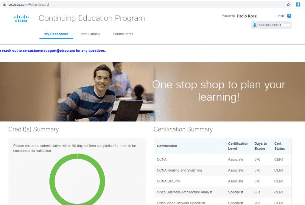 Cisco Continuing Education – Crediti Formativi – Rinnovo Certificazioni