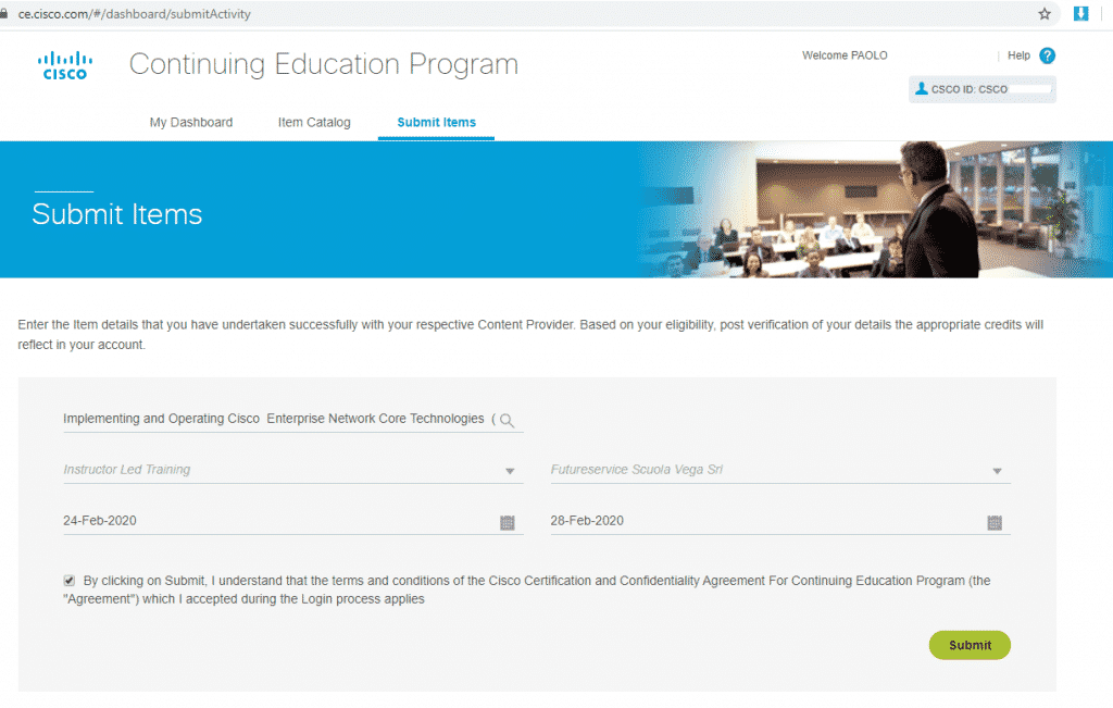 Corsi Ufficali Cisco -Cisco Continuing Education – Crediti Formativi – Rinnovo Certificazioni
