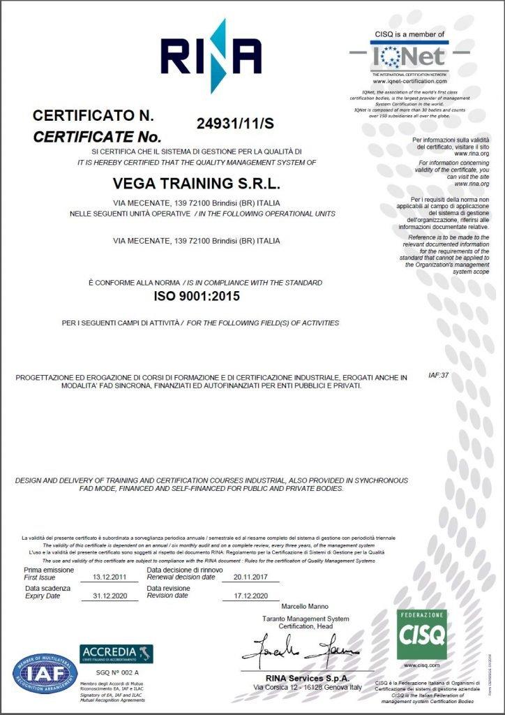 Certificato ISO 9001 Vega Training